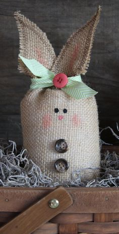 Burlap Bunny Rabbit  Medium by TheTinyCrafter on Etsy, $10.00