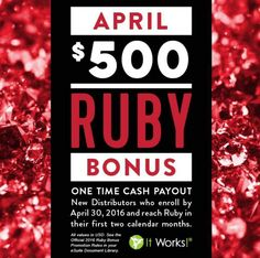 Trial Distributorship with It Works!  I will work with you overtime through July to help you achieve the rank of ♦RUBY♦!!!!   I am so excited to show a few people how I started my business and help them make some extra money ALL FROM THEIR CELL PHONE ☎!!!!    Call or text me at (912) 226-6786 or PM  me if you are interested! Spots will go quick!