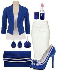 love the blue.. what about the winter white? translates to spring and summer well! #workattire #personalbrand www.cynthiawhiteandassociates.com