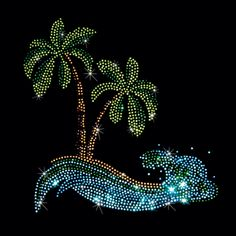 7X8  - WAVY BEACH - beach, palm Tree, Rhinestone, stones, wave, wavy, Material Transfer, Tropical & Beach