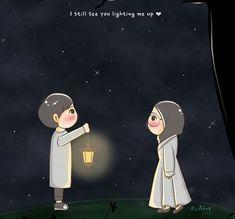 Cute Couple Cartoon, Cute Couple Art, Cute Love Cartoons, Anime Love Couple, Cute Emoji Wallpaper, Cute Cartoon Wallpapers, Hijab Drawing, Islamic Cartoon, Cute Muslim Couples