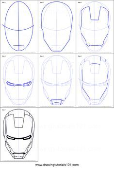 How To Draw Iron Man S Helmet Printable Step By Step Drawing Sheet Drawingtutorials101 Com Iron Man Drawing Iron Man Drawing Easy Iron Man Art