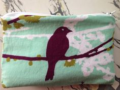 """NEW Birds and Branches Fabric and Oilcloth Zipper Pouch Coin Purse Coin Pouch Cosmetic Bag Wet Bag 3.5"""" x 5.5"""""""