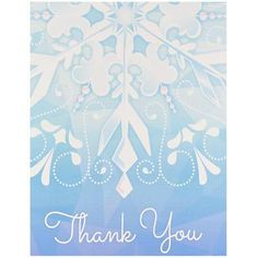 These Snowflake Winter Wonderland Thank-You Notes are a great way to show your appreciation to your party guests! The package includes 8 thank-you notes with envelopes.Includes (8) themed thank you no