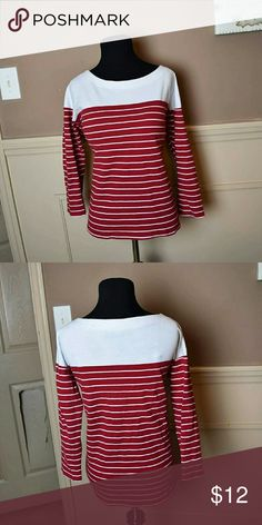 Beautiful Red & White Striped Top In excellent condition. Tops Blouses