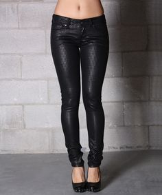 Loving this Lola Jeans Black Sheen Celina Twill Low-Rise Skinny Jeans on #zulily! #zulilyfinds
