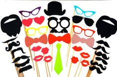 Great Photo Booth Prop Set - 34 props on a stick - Birthdays, Weddings, Parties - Fun Photobooth Props. $42.00, via Etsy.