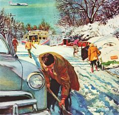 Classic vintage illustration artwork by Briggs, Austin Snow Shoveling - Always part of Winter! Keep a snow shovel and winter gear handy in your car! Retro Kunst, Retro Art, Vintage Advertisements, Vintage Ads, Car Dates, Mary Cassatt, Photo Vintage, Norman Rockwell, Arte Pop