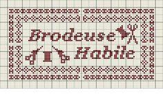 brodeuse - embroiderer - étiquette - brodeuse habile - point de croix - cross stitch - Blog : http://broderiemimie44.canalblog.com/