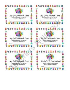 Class Dojo Behavior Punch Card- this is helpful! Never have been able to manage all those points! Class Dojo Rewards, Classroom Rewards, Classroom Behavior Management, Classroom Procedures, Classroom Tools, 3rd Grade Classroom, Future Classroom, School Classroom, Behaviour Management