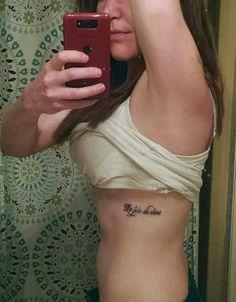 My Tattoo, rib tattoo, tattoo, girls tattoo, French tattoos, inspirational quote tattoo, quote, sayings, tattoo sayings, women's rib tattoos, delicate tattoos, tattoo fonts, la joie de vivre, the joy of living