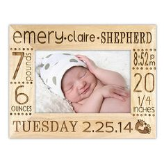 Birth Announcement Modern – On this birth announcement frame, we engrave the newborn's name and birth stats! This contemporary picture frame is perfect for new moms and dads to remember that special day.  ALL ORDERS are placed DIRECTLY through our Website  Go to http://www.personalizedwoodengravings.com/   Place your order and use code : pamcraven I will take 5% off of your order PLUS give you FREE SHIPPING