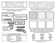 Elements of Art Sketchbook Activities: Sketchbook activities to introduce young artists to some of the concepts of line, color,shape, value, form space and texture. 3 pages that can be cut apart and pasted into a sketchbook with activities and prompts for High School Art, Middle School Art, Elements Of Art Space, Design Elements, Art Doodle, Art Handouts, Elements And Principles, Art Worksheets, Ecole Art