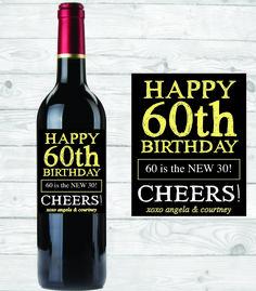 chalkboard birthday wine bottle label custom wine label digital