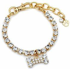 Pretty up your pet with an eye-catching Austrian crystal collar by Buddy G Pet jewelry features an adorable rhinestone bone charm Small goldplated collar measures 8-10 inches long Size: S. Color: Whit