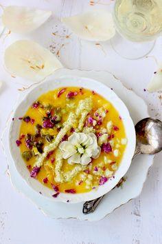 Yellow Gazpacho with Roasted Poblano Pesto