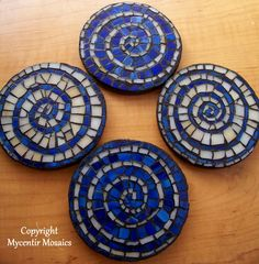 Mosaic Coaster Set of 4 http://www.etsy.com/listing/95036546/glass-mosaic-coasters-set-of-4