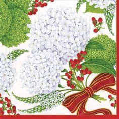 Caspari Snowball Hydrangeas white Floral Printed 3-Ply Paper Luncheon Napkins Wholesale 13441L