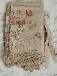 Mixed Media Fabric Collage Book of Red Red Roses | eBay