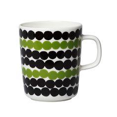 Marimekko mugs & cups are a fun way to enjoy your morning coffee. Top rated retailer of Marimekko mugs, cups, and dinnerware. Marimekko, Ceramic Tableware, Stoneware Mugs, Jackie Kennedy, Green Mugs, Design Competitions, Cushion Fabric, Bold Prints, Home Accessories