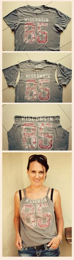 T-shirt restyling...did it tonight for a friend - turned out pretty cute!!
