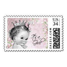 Vintage Princess Baby Shower Postage Stamp