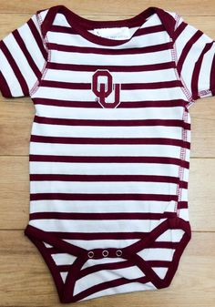 Oklahoma Sooners Baby Crimson Skylar Short Sleeve One Piece - 10190587 Oklahoma Sooners, Simple Dresses, Team Logo, Baby Gifts, Cotton Fabric, Dressing, Short Sleeves, Rompers, One Piece