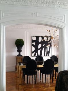 Statement art B&W abstract.... Black, white & gold