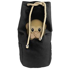 Emoji Cover Mouth Mokey Face Canvas Beam Port Drawstring Sports Basketball Shoulders Backpack Bags -- More details can be found by clicking on the image. #GymBags