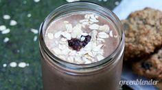 Oatmeal Raisin Cookie Smoothie:      2 bananas     1/4 cup gluten free oats     1 tbsp raisins     1 tbsp cacao powder     1/2 tsp cinnamon     1 cup vanilla almond milk     1 cup ice