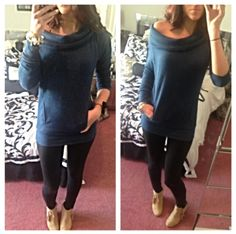 Cowl neck sweater. Comfy sweaters. Winter style 2013. Cute winter outfits. Leggings and booties. #yogasweaters #dancesweaters