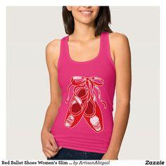 Red Ballet Shoes Women's Slim Racerback Tank Top; ArtisanAbigail at Zazzle