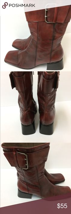 Nine West Buckle Boots Nine West Buckle Boots  with a chunkey heel in a red burgundy color. Nine West Shoes Ankle Boots & Booties