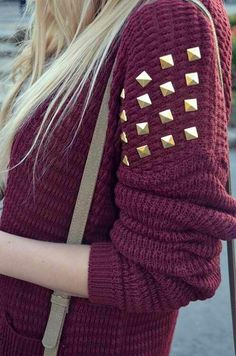 burgundy sweater with gold studs