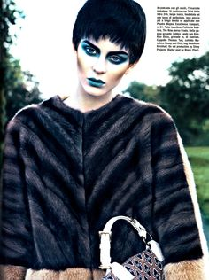 Beauty in #Vogue: bicolour fur, The Row and Prada bag