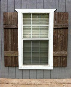 SHUTTERS (interior or exterior). Custom made from reclaimed wood. I love the wood shutters, but definitely on a different color siding! Pallet Shutters, Window Shutters Exterior, Indoor Shutters, Cedar Shutters, Rustic Shutters, Diy Exterior, Rustic Exterior, Farmhouse Shutters, Shutters Inside