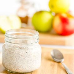 apple pie chia pudding a healthy recipe with apple and cinnamon, egg free custard perfect for baby led weaning Healthy Homemade Snacks, Homemade Baby Foods, Healthy Baking, Apple Recipes, Baby Food Recipes, Easy Recipes, Toddler Recipes, Free Recipes, Vegan Recipes