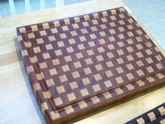"""How to make a cutting board. Finished size will be 13""""x15""""x1-15/16"""".  1. Start with rough lumber, 1""""x8""""x6 foot walnut, 1""""x4""""x6 foot maple  DSC_2331.jpg  2. Cut to 24"""" long pieces  DSC_2332.jpg  3. Plane to consistent thickness, about 7/8"""" in this case  DSC_2333.jpg  4. Rip to desired widths,..."""