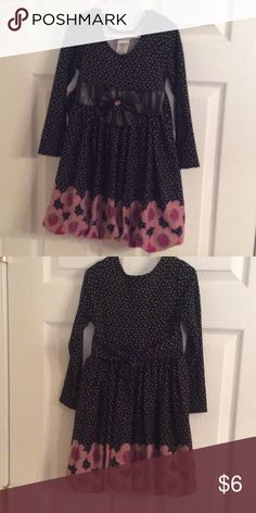 Bonnie Jean black and pink dress Long sleeves with white polka dots and pink flowers. Bonnie Jean Dresses Formal