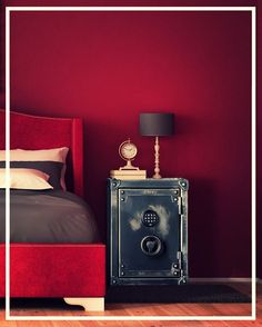 Check out our #personal gun safe cozying up to this beautiful #red #suede #bed.  #SimplyStunning  #Bedside #Safe #OldTimey #Rhino #Steel #SteamPunk #Rustic #Homey #Cozy