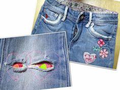 kaputte Kinderjeans hübsch reparieren Denim Jeans Men, Denim Shorts, Repair Jeans, Denim Ideas, Sewing Basics, Sewing For Kids, Upcycle, Sewing Patterns, Kids Fashion