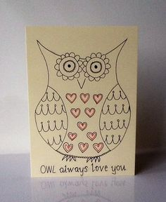 Owl valentines day funny pun card- hand made