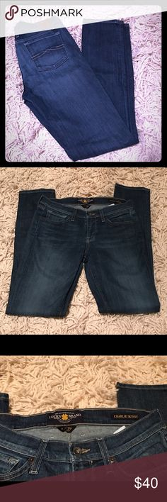 """Lucky Brand Charlie Skinny Jeans The famous Lucky low-rise: signature slim fit, finished with a sleek, skinny leg. Inseam 32"""". Size 29 (US size 8). Lucky jeans are my all time favorite to wear, and Charlie is by far my favorite fit. Lucky Brand Jeans Skinny"""