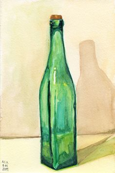 Green Glass Bottle original watercolor daily painting of emerald glass