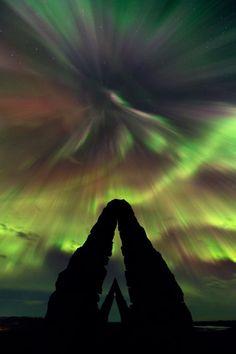 Auroras in Arctic Henge, near Raufarhöfn, Iceland.  Photographed by Stephane Vetter.
