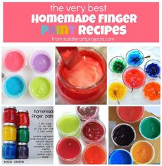 How to make homemade paint. Quick easy fun recipes for finger-paint. Yummy delicious, no stain, no cook and washable paints. All natural ingredients, child friendly and safe for kids. Toddler Art Projects, Projects For Kids, Painting For Kids, Art For Kids, Kids Fun, Painting Art, Diy Crafts For Kids, Fun Crafts, Craft Kids