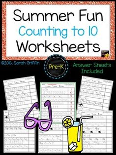 Summer Fun Counting to 10 Math Worksheets and Answer Sheets.  Great for prek and kindergarten.