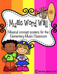 Here is a set of 17 musical concept posters including tempo, dynamics, staff, articulation, and treble clef. Use these posters to build your word wall or hang them throughout your classroom for a colorful decoration.