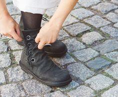 Trippen Tramp Kalbsleder calfskin Damen Stiefelette Ankle Boot lace-up Schnürstiefelette schwarz auf mbaetz.com