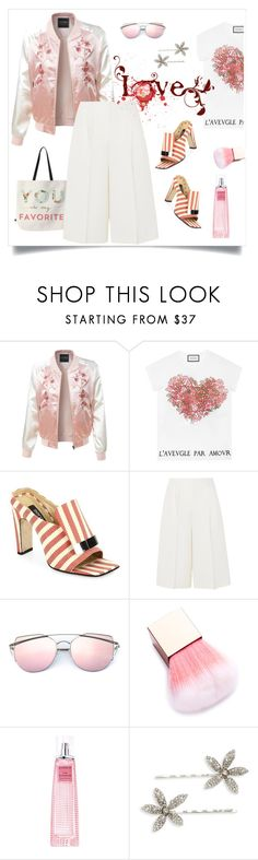 """""""love 💓 spring"""" by tato-eleni ❤ liked on Polyvore featuring DENY Designs, LE3NO, Gucci, Sergio Rossi, Valentino, Givenchy and Jennifer Behr"""